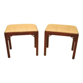 Chippendale Style Solid Mahogany Benches - A Pair