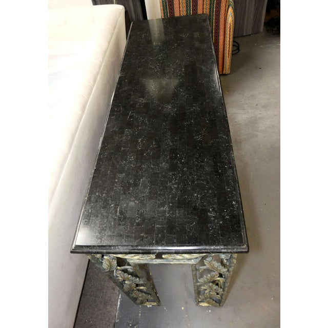 Turquoise Traditional Maitland Smith Marble Top Iron Console Table For Sale - Image 8 of 13