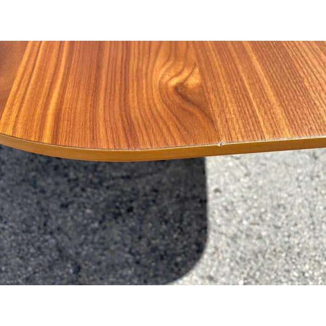 Brown Walnut Dining Table With Stainless Steel Powder Coated Base For Sale - Image 8 of 9