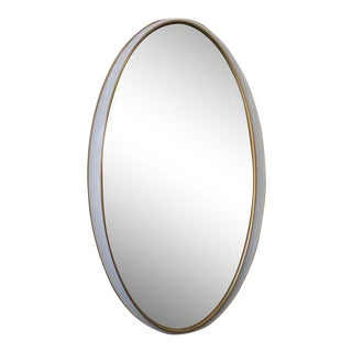 White and Gold Oval Mirror For Sale