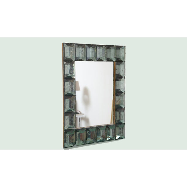 Faceted Murano Glass Mirror in Sea Green For Sale In Miami - Image 6 of 6