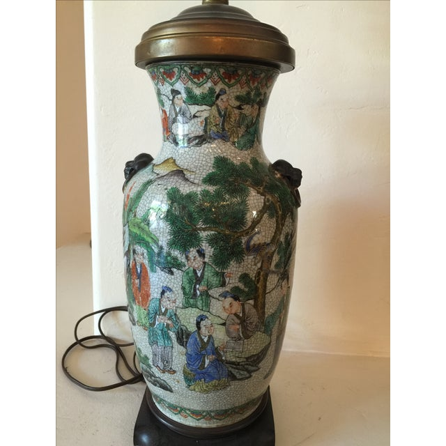 Vintage Asian Table Lamp With Wooden Base For Sale - Image 4 of 11