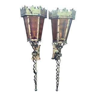 Large Spanish Mid-Century Gilded Iron and Amber Glass Torchiere Lanterns Sconces - a Pair For Sale