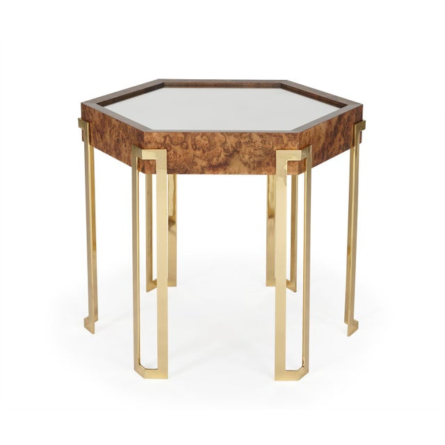 This is a show-stopper. Six-sided occasional table in fine walnut burl, designed by Barry Goralnick. The top is an inlaid...