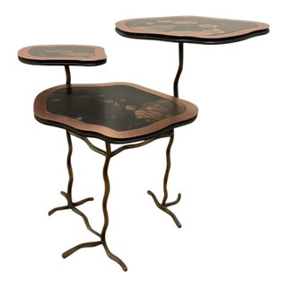 Abstract Acacia Tree Verdigris Copper Side Table For Sale