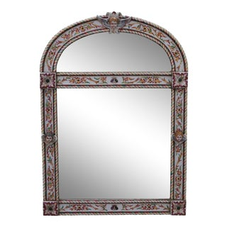 Antique Italian Majolica Porcelain Frame Wall Mirror