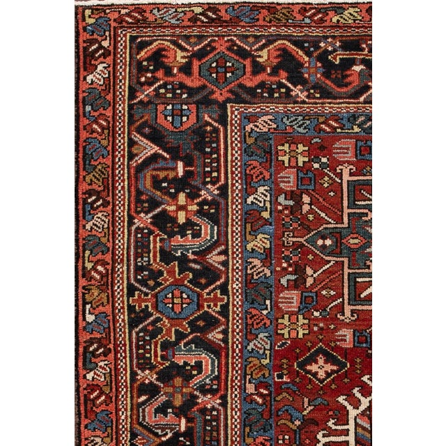 Vintage hand-knotted Persian Heriz rug with an allover design. Material: wool