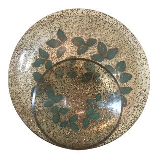 1960's Mid-Century Lucite/Acrylic Chip & Dip Serving Tray with Gold Flecks and Green Leaves For Sale