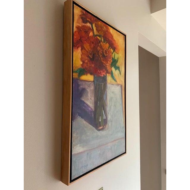 Original Orange Zinnias Oil Painting For Sale In New York - Image 6 of 7