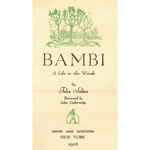 Bambi: A Life in the Woods by Felix Salten. New York: Simon and Schuster, 1928. 1st Printing. 293 pages. Hardcover.