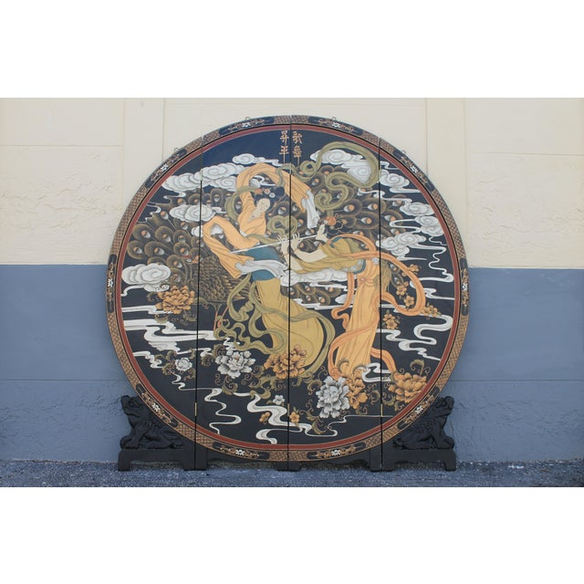 Art Deco Oriental Round Carved Base/ Detailed Room Dividing Screen For Sale - Image 13 of 13
