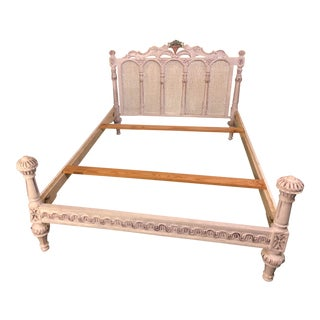 19th/20th Century Vintage French Louis XVI/ Swedish Gustavian Style Painted Cane Head Board Bed Frame For Sale
