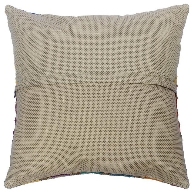 "2010s Darcey Gray/Ivory Hand-Woven Kilim Throw Pillow(18""x18"") For Sale - Image 5 of 6"