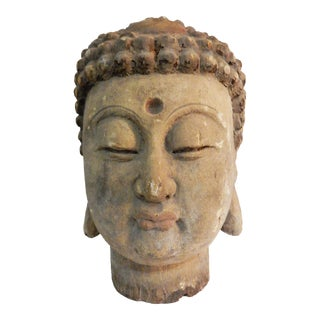 Lg Asian Carved Wood Gautama Buddha Head For Sale