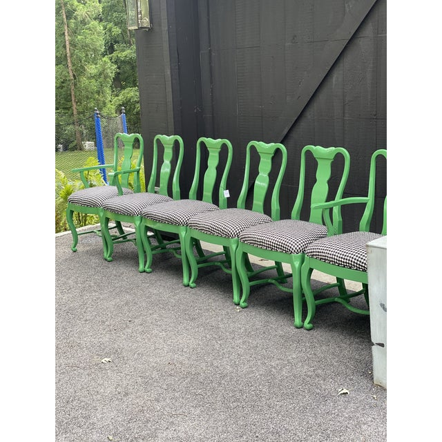 Set of 6 Queen Anne green Lacquered dining chairs. The chairs are upholstered in Loro Piana RS (rain system) black and...