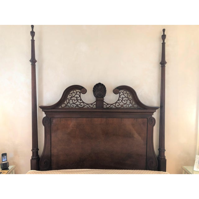 Century Furniture Tradtional Mahogany Headboard With Burl Inlay For Sale - Image 9 of 9