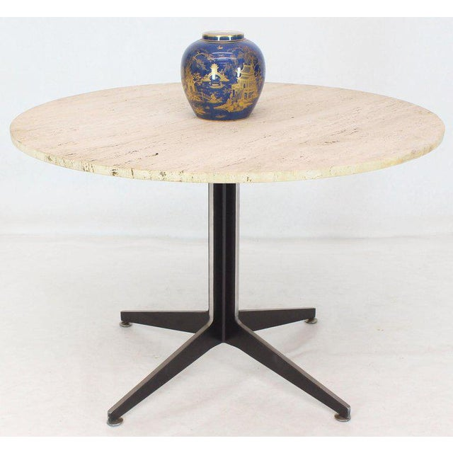 Mid-Century Modern Round Travertine Top Fabricated Aluminium X-Base Cafe Dining Table For Sale - Image 3 of 8