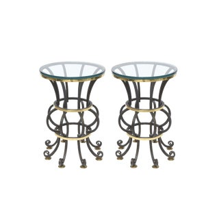 Pair of Iron and Brass with Glass Top Tables by Arturo Pani For Sale