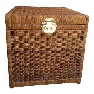 1970s Boho Chic Brass Hardware and Rattan Trunk For Sale