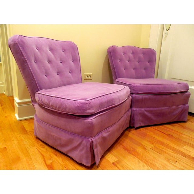 Make a statement with this amazing pair of vintage velvet chairs! The color and shape of this duo are totally one-of-a-...