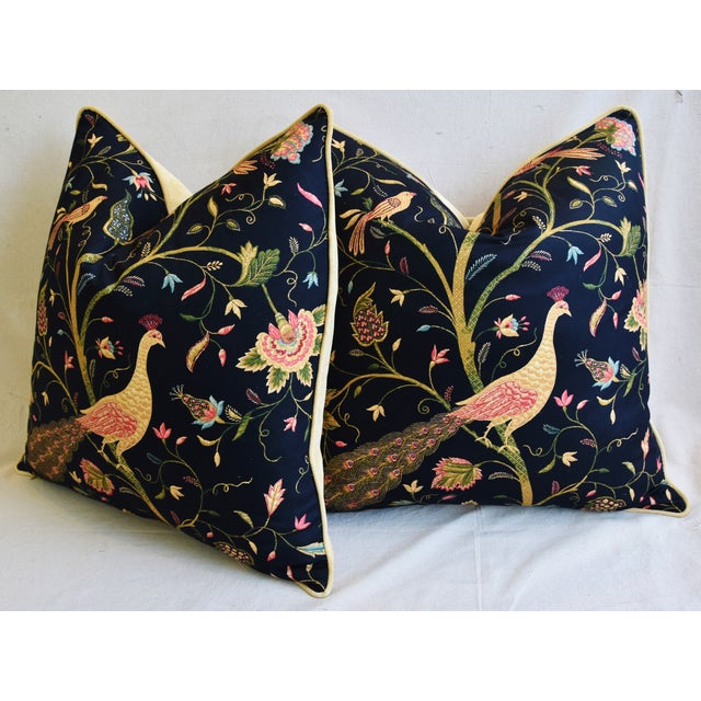 """Chinoiserie Peacock & Floral Asian Feather/Down Pillows 24""""- Pair For Sale - Image 9 of 13"""