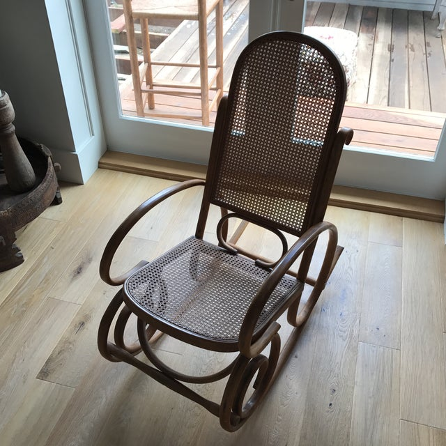 Caning Spanish Bentwood Rocking Chair Rocker For Sale - Image 7 of 10