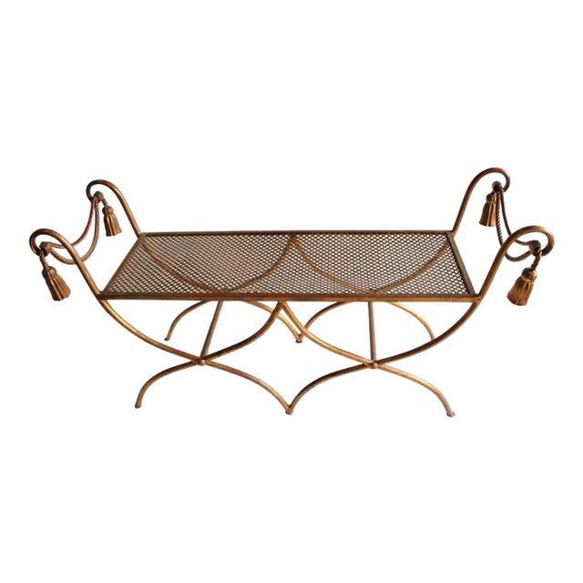 Mid Century Italian Gold Leaf Wrought Iron Bench For Sale
