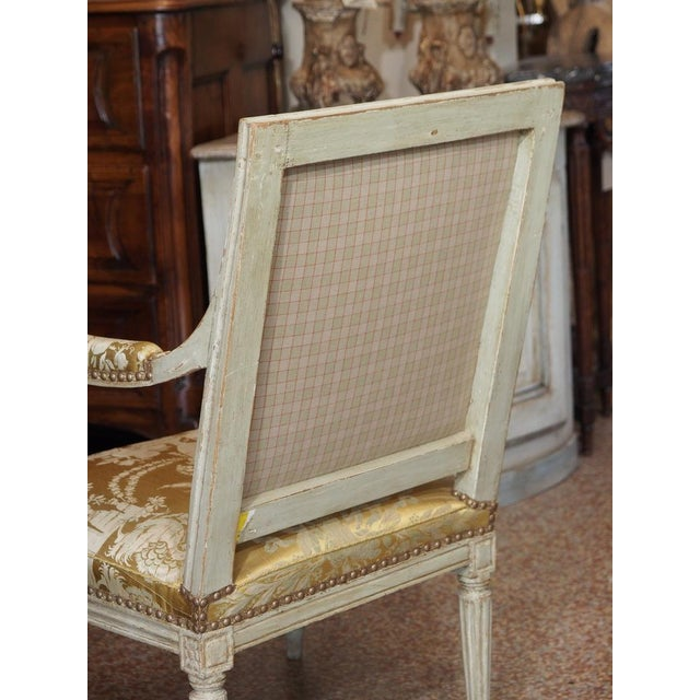 Late 18th Century 18th Century Painted Louis XVI Armchair For Sale - Image 5 of 11