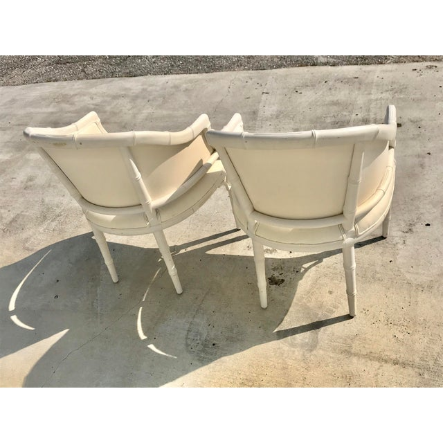 1970s 1970s Vintage Faux Bamboo Upholstered Chairs - a Pair For Sale - Image 5 of 12