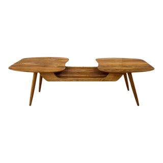Sculptural Bi-Level Biomorphic and Slat Top Walnut Coffee Table, 1960s For Sale