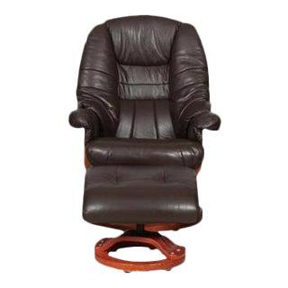 Modernist Scandinavian Leather Swivel Chair & Ottoman For Sale