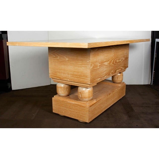 Tan Hollywood Regency Limed Oak Console Table in the Style of Paul Dupre-Lafon For Sale - Image 8 of 9