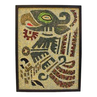 Ellen Hightower Large Mid-Century Modern Mosaic Tile Aztec Eagle Art For Sale