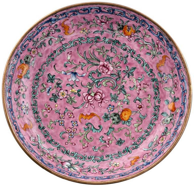 Asian 18th Century Chinese Canton Enamel Plate For Sale - Image 3 of 3