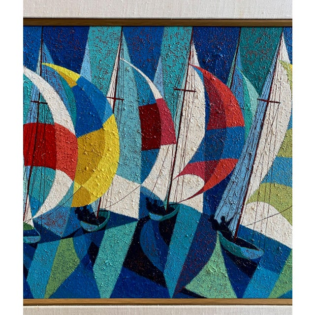 1970s Vintage Camú Spinnakers Original Signed Oil Painting For Sale - Image 4 of 7