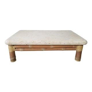 1960s Antonio Budji Layung Tessellated Stone and Bamboo Base Coffee Table For Sale