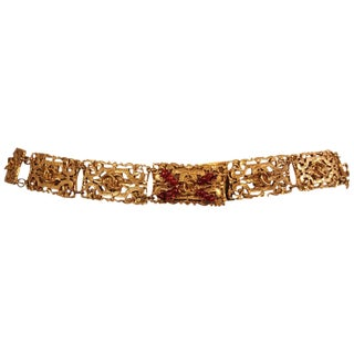 Chanel Gold Toned Belt With Red Gripoix Beads on Clasp For Sale