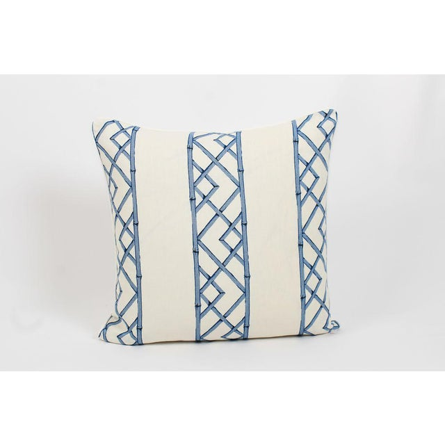 Hollywood Regency Blue & Ivory Palm Beach Linen Trellis Pillows, a Pair For Sale - Image 3 of 9