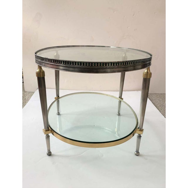 Trouvailles Steel and Brass Oval Cocktail Table For Sale - Image 10 of 13