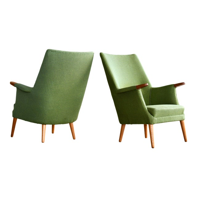 Danish 1960s Hans Wegner Mama Bear Style Lounge Chairs by Poul Jessen - a Pair For Sale