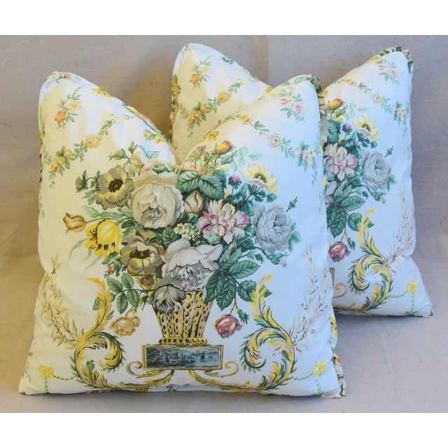 "Schumacher Floral Airlie Bouquet & Chenille Feather/Down Pillows 21"" Square - Pair For Sale - Image 12 of 13"