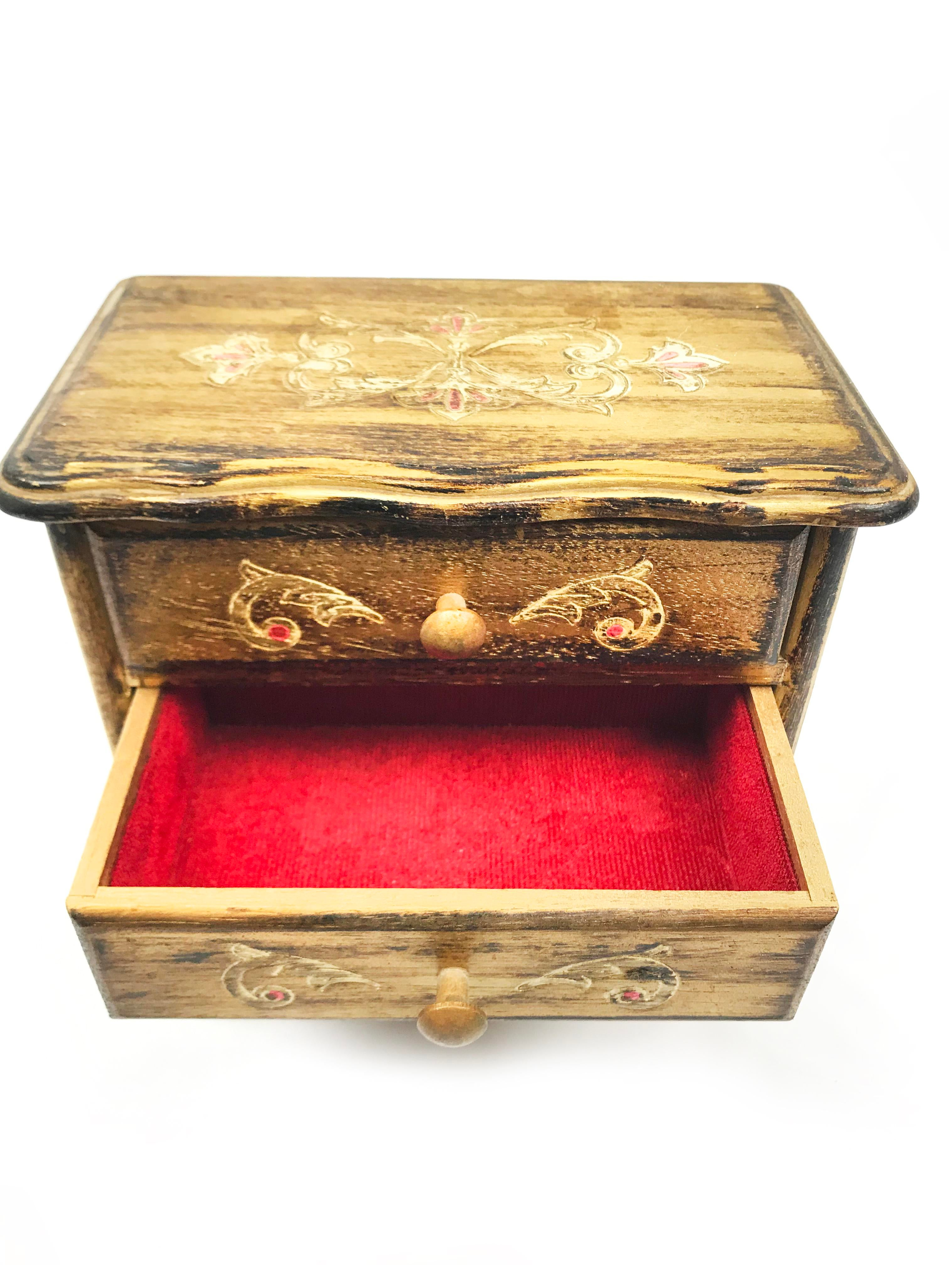 Vintage MidCentury Florentine Style Footed Wooden Jewelry Box