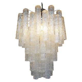 1960s Mid Century Venini Style Murano Glass Tronchi Chandelier For Sale