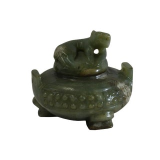 Chinese Jade Green Color Stone Carved Incense Holder Display Art For Sale