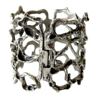 Robert Larin Pewter Canadian Modernist Webbed Cuff Bracelet For Sale