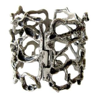 Robert Larin Pewter Canadian Modernist Webbed Cuff Bracelet For Sale