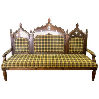 Gothic 19th Century Sofa or Hall Bench in an Irish Plaid Upholstery For Sale