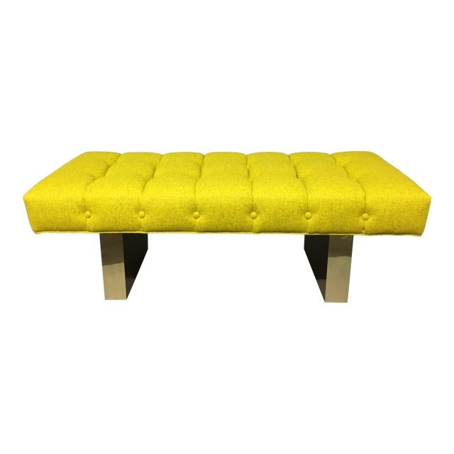 Mid-Century Modern Bright Yellow Tufted Bench on Brass Base For Sale
