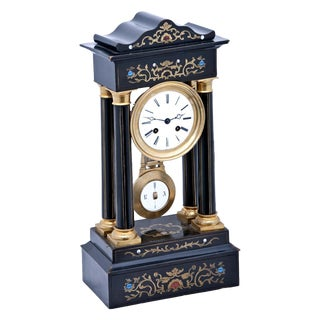 19th Century Ebonized Wood and Brass Inlaid Mantel Clock For Sale