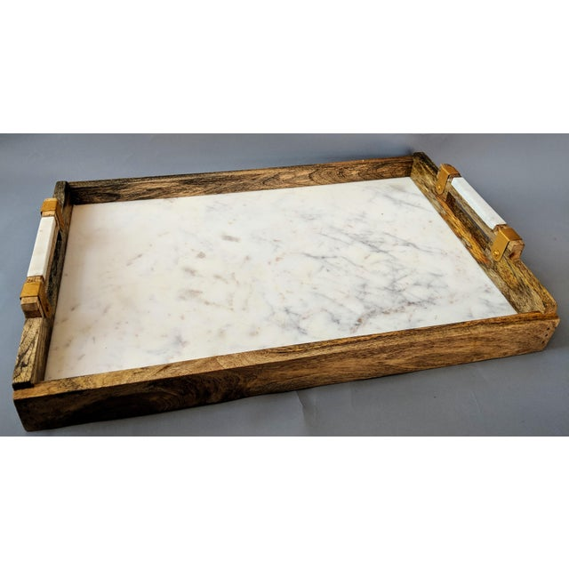 Gold Handcrafted Wood & Marble Bar Tray For Sale - Image 7 of 12